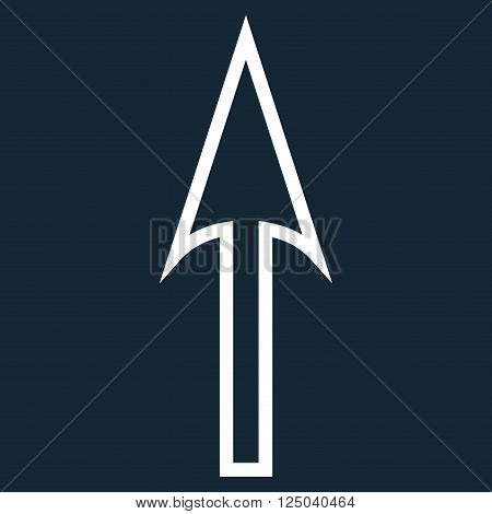 Sharp Arrow Up vector icon. Style is outline icon symbol, white color, dark blue background.