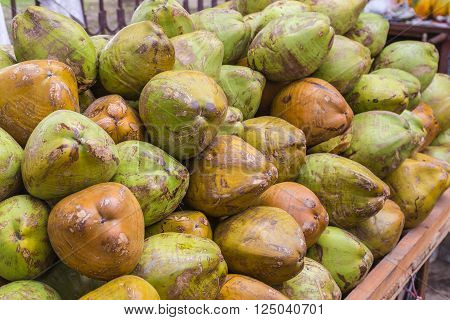 Closeup to Green Coconuts in India at a Market Stand
