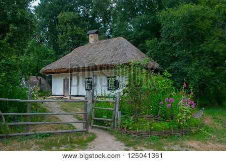 Courtyard and Ukrainian peasant family home of the nineteenth century National Museum of Folk Architecture and Life of Ukraine