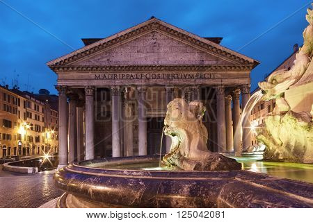 Pantheon at the blue hourt, Rome, Italy