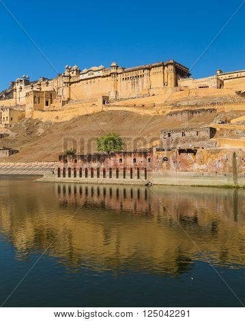 JAIPUR INDIA - 22ND MARCH 2016: The outside of the Amber Fort in Jaipur Rajasthan India.
