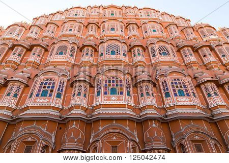 JAIPUR INDIA - 22ND MARCH 2016: Low view of the front of the Hawa Mahal in central Jaipur during the day.