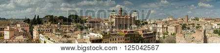 Panorama of Rome as seen from the Palatine hill Italy