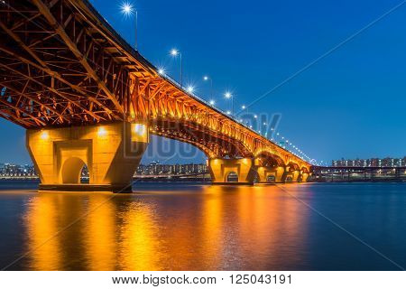 Han River And Seongsu Bridge At Night In Seoul, Korea