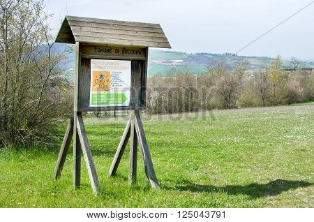 Bologna Italy March 20 2016: the entrance sign of Cavaioni Park in the Colli Bolognesi area outskirts of Bologna