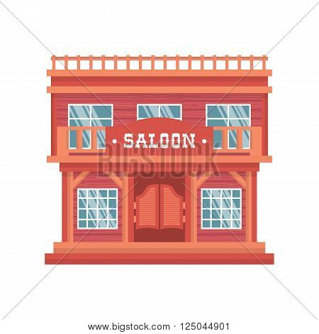 Western saloon doors. Isolated wild west wooden bar on white background. Vintage traditional cowboy house in America.