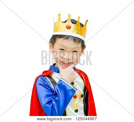 Asian Boy dressed in prince costume over white background