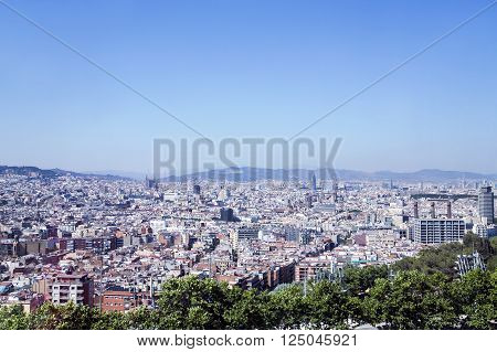 Barcelona - view aerial from the hill of Montjuic Catalonia, Spain.