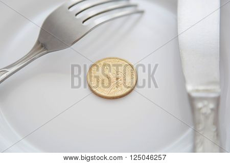 One Dollar Coin On A White Plate