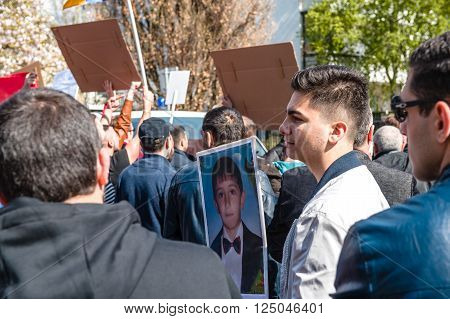 STRASBOURG, FRANCE - APR 8, 2016: Armenian diaspora protest outside Azerbaijan Embassy against the 2016 clashes in Nagorny-Karabakh the region disputed by Armenia and Azerbaijan.