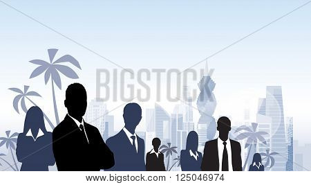 Business People Group Panama City Silhouette Skyscraper Cityscape Palm Tree Blue Background Skyline Vector Illustration