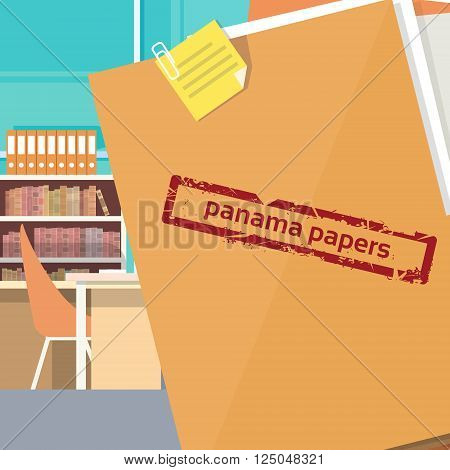 Panama Papers Folder Secret Document Offshore Company Business Owners Office Vector Illustration