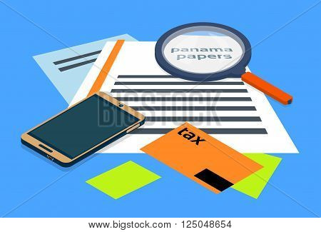 Magnifying Glass Offshore Panama Papers Folder Documents Office Desk Vector Illustration