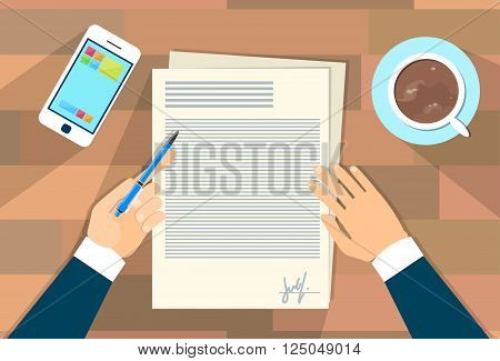 Business Man Document Signing Up Contract Agreement, Businessman Write Office Desk Wooden Texture Flat Vector Illustration
