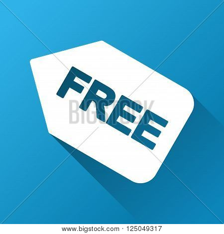 Free Sticker vector toolbar icon for software design. Style is a white symbol on a square blue background with gradient long shadow.