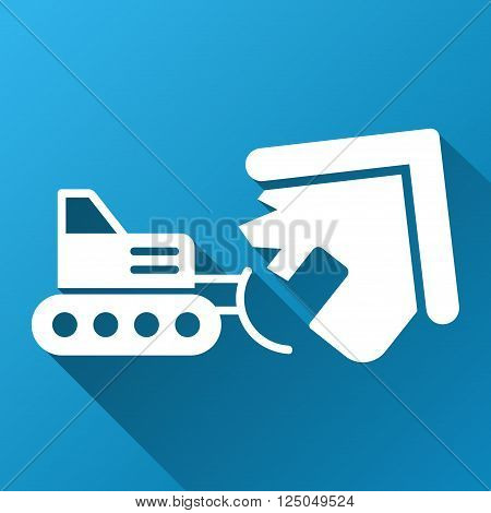 House Demolition vector toolbar icon for software design. Style is a white symbol on a square blue background with gradient long shadow.