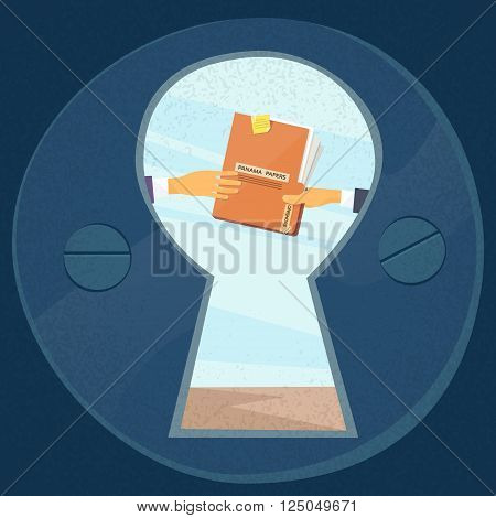 Hands Give Panama Papers Folder Secret Document, Concept View Through Door Hole Businessmen Share Information Flat Vector Illustration