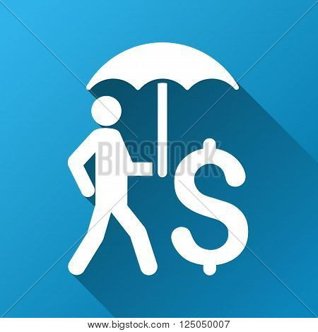 Walking Businessman under Umbrella vector toolbar icon for software design. Style is a white symbol on a square blue background with gradient long shadow.