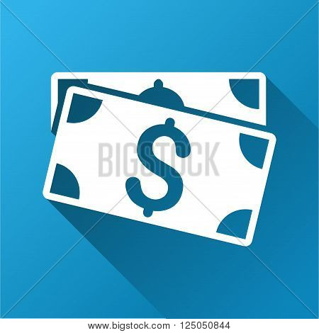 Dollar Banknotes vector toolbar icon for software design. Style is a white symbol on a square blue background with gradient long shadow.