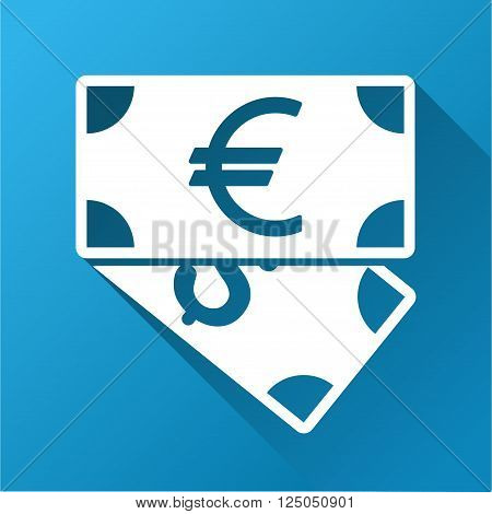 Euro and Dollar Banknotes vector toolbar icon for software design. Style is a white symbol on a square blue background with gradient long shadow.