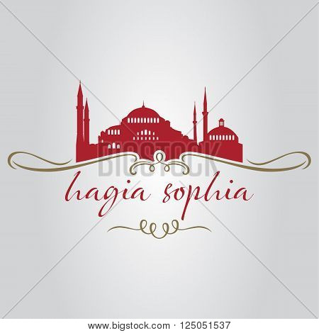 Istanbul hagia sophia mosque icon and shape vector illustration