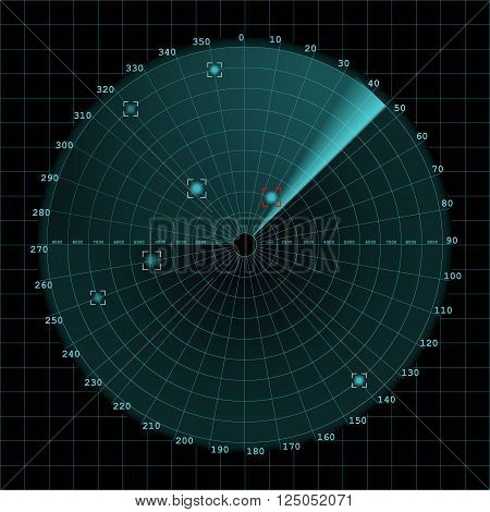 Sonar screen on grid 2d vector on dark background radar eps 10