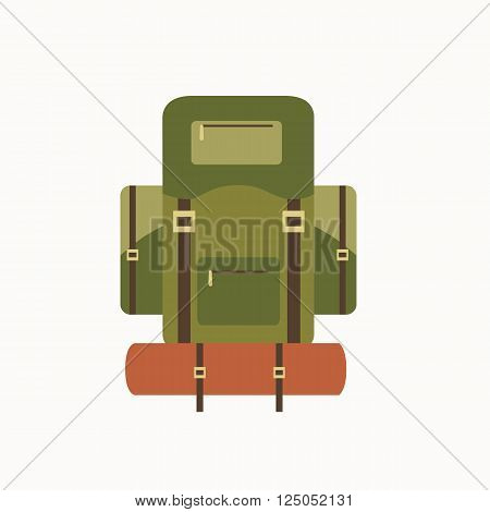 Tourism backpack icon. Isolated camp backpack vector. Travel equipment tourism backpack illustration for explore camping design