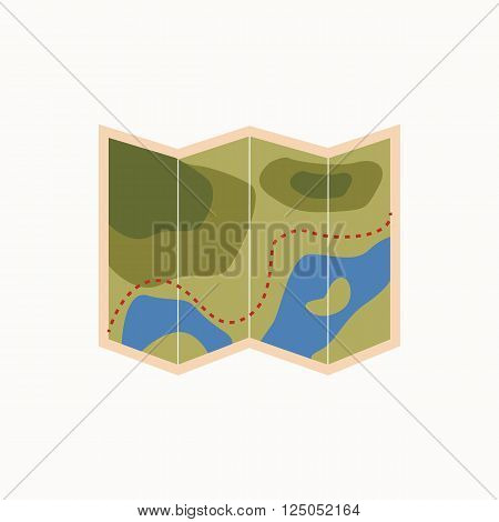 Camping map icon. Isolated tourism map icon vector. Travel equipment tourism map illustration for explore camping design