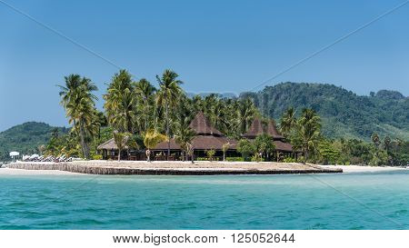 Over Water Bungalows On Island