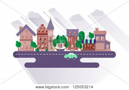 Town streets of small city in a flat design