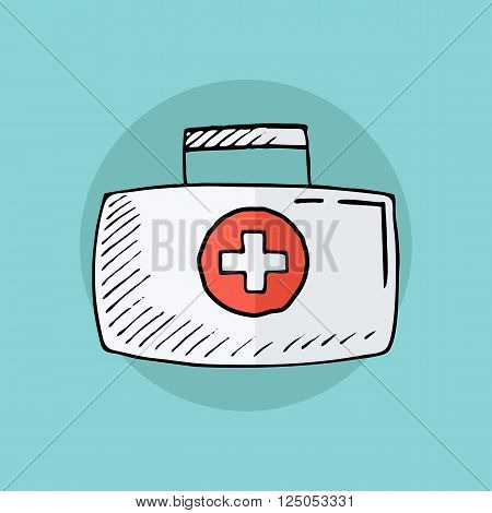 First aid kit. First aid box. First aid case. Hand drawn vector illustration.