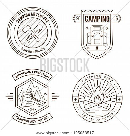 Camping logo badge set in outline style. Camping logo illustration. Vector camping badge concept. Mono line camping logo for your camping design. Camping logo set  isolated background. Camping concept