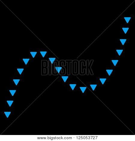 Dotted Curve vector icon. Dotted Curve icon symbol. Dotted Curve icon image. Dotted Curve icon picture. Dotted Curve pictogram. Flat blue dotted curve icon. Isolated dotted curve icon graphic.