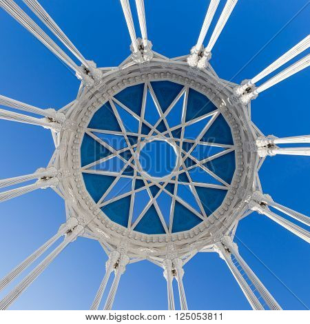 Moscow - November 28 2015: An unusual beautiful airy pergola dome pavilion Culture in VDNH in Moscow November 28 2015 Moscow Russia