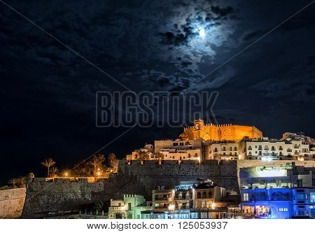 Peniscola castle at night. Costa del Azahar province of Castellon Valencian Community. It is a popular tourist destination in Spain
