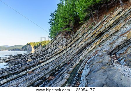 Picturesque rocks on the Black sea coast, Tuapse, Krasnodar Krai, Russia.