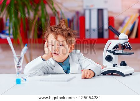 Young Boy, Kid Is Bored At Practical Lesson In The School Lab