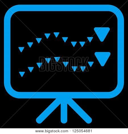 Dotted Trends Board vector icon. Dotted Trends Board icon symbol. Dotted Trends Board icon image. Flat blue dotted trends board icon.