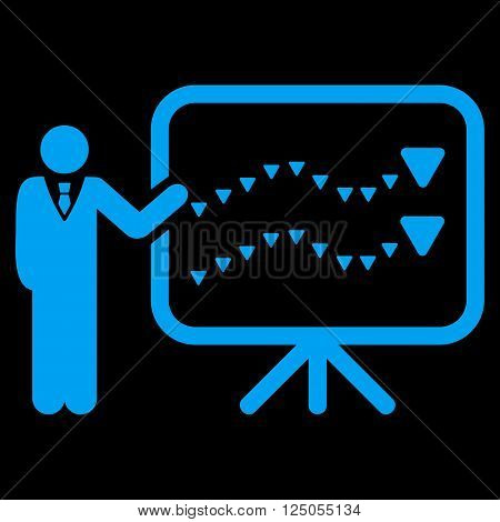 Trends Presentation vector icon. Trends Presentation icon symbol. Trends Presentation icon image. Trends Presentation icon picture. Trends Presentation pictogram. Flat blue trends presentation icon.