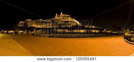 Nocturne panorama San Felipe Castle in Cartagena de Indias
