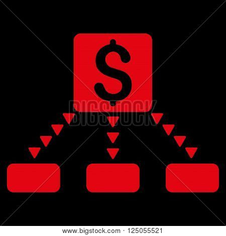 Cashout Scheme vector icon. Flat red cashout scheme icon.