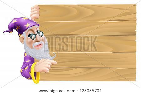 Wizard And Blank Wooden Sign