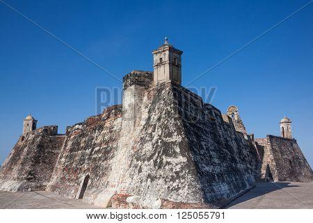 CARTAGENA, COLOMBIA - FEBRUARY 21 2011:  San Felipe Castle in Cartagena de Indias