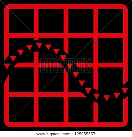 Dotted Function Chart vector icon. Dotted Function Chart icon symbol. Dotted Function Chart icon image. Dotted Function Chart icon picture. Dotted Function Chart pictogram.