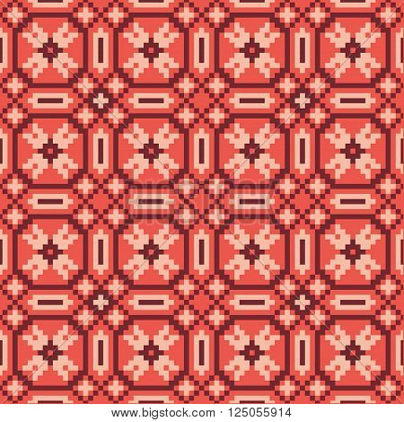 Traditional ethnical seamless pattern made of colorful squares.  Abstract geometrical background.