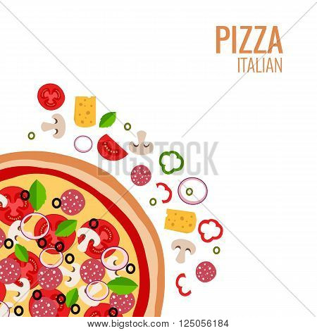Pizza icon background. Pizza icon flat design.  Flat illustration of pizza ingredient for pizza menu.