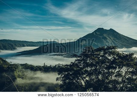 Batur Volcano And Agung Mountain From Kintamani, Bali, Indonesia