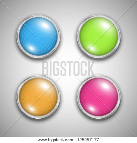 Shiny colorful glass bubble set in aluminum edging. Vector art.