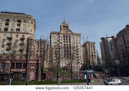 Khreshatik - central street of Kiev.At April 8,2016 in Kiev, Ukraine