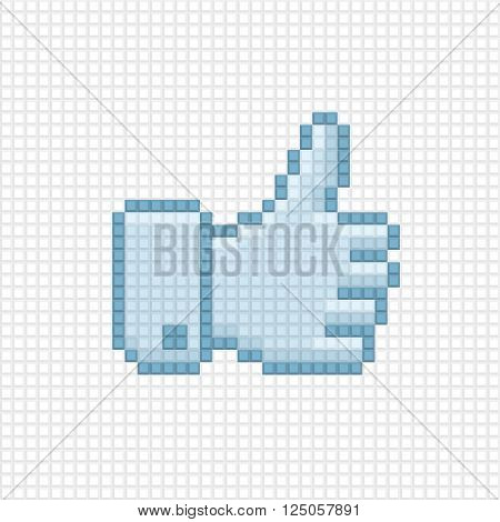 Thumb up icon in the style of pixel art.